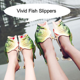 Wholesale Big Animal Slippers - 2017 New Creative fish slippers handmade big children fish-shaped Women men sandals EVR Non-slip beach shoes Personality fish Furoshiki