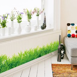 Wholesale Large Vinyl Wall Stickers - Spring Lush green grass Skirting Line Flora diy home decor wall sticker Furniture kitchen wedding decor mural sticker