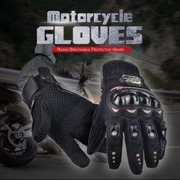 Wholesale Motorbike Protective Gear - NEW PRO Motorcycle Gloves Full Finger Protective Gear Black Carbon Fiber Bike Motorbike Racing Motocross Gloves Moto Luvas