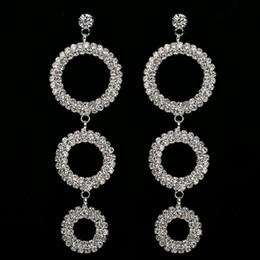 Wholesale Dangling Cross Earrings Rhinestones - Fashion Silver Plated Large Rhinestone Crystal Long Hanging Earrings Women Big Circle Hoop Pending Earring Jewelry Wedding Gifts