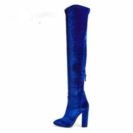 2593a9b5c8721 2019 botas azules de tacón largo 2017 primavera otoño invierno plataforma  de verano tacones altos botas