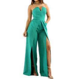 33f62d28c52 Wholesale- Fashion Sexy Off Shoulder Strapless Jumpsuit Summer Style Ladies  Work Office Long Pants Fashion Back Zipper High-split Rompers