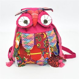 fabric baby owls Promo Codes - New Arrive children bag backpack owl fashion baby kids school bags Chinese national characteristics Kindergarten Cartoon Bag top quality