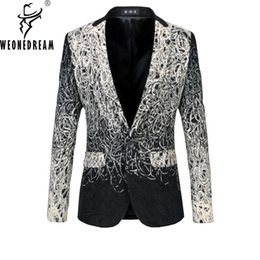Wholesale Business Suit Designer - Wholesale- 2017 New Arrival Men Casual Blazers Designer Brand Autumn Fashion European Business Dress Floral Suit Jacket Plus Size M-6XL