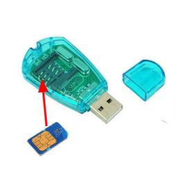 connecteur de mini carte Promotion Portable Blue USB Super lecteur de carte SIM Writer Copier le périphérique Modifier le répertoire SMS avec lecteur CD