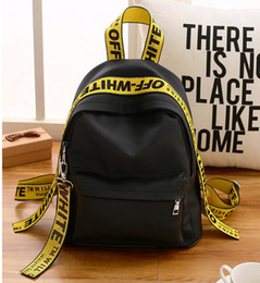 Wholesale Off Shoulder Bag - Hot sales Mr.tang American casual street influx of people SUP casual shoulder bag Ribbon off white backpack schoolbag men and women