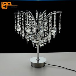 2017 led gu4 Belle lampe de table en cristal design lampe de table LED moderne Dia35 * H47cm lustres de cristal chambre éclairage de salon peu coûteux led gu4