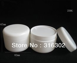 Wholesale Wholesale White Glass Cosmetic Jars - Free shipping - 250g white cream jar, pp jar, cosmetic container,cosmetic packaging