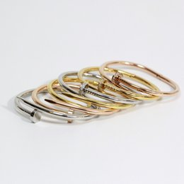 Wholesale Name Plates - 316L Titanium steel brand name nail punk lovers women and man bangle free shipping PS5206