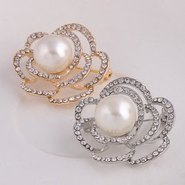 Wholesale Cheap Brooches For Sale - Wholesale- Factory Direct Sale Cheap Price!Simulated Pearl And Diamante Rose Pins Brooches For Wedding Party