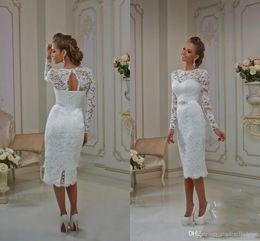 Wholesale Wedding Columns Cheap - 2017 Tea Length Wedding Dresses Bateau Sheath Lace Long Sleeves Illusion Summer beach Bridal Gowns Lace Up Split Back Keyhole Backless Cheap