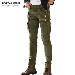 Wholesale Port Fashion - Wholesale-Port&Lotus Jeans Men Casual Fashion Men Jeans Solid Color Biker Jeans Army Style Slim 004 Skinny Men Brand Clothing