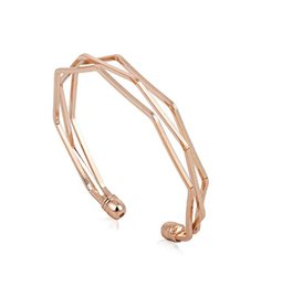 Wholesale Golden Silver Cuff Bangle Bracelet - New Personalized Rose Golden Cuff Bangles Multi Layer Cuff Bracelets Best Gifts for Lover man women wristband jewelry