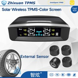 Wholesale Solar Chips Wholesale - car Solar power TPMS external sensor colorful screen wireless tire pressure monitor system Freescale Sensor Chip USB port TWF405