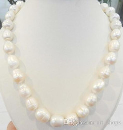 """Wholesale Real White Pearl Necklace - REAL NATURAL 12-13MM WHITE freshwater PEARL NECKLACE 18"""" AAA kk39"""