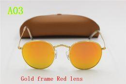 Wholesale Glitter Glasses Frames - 1pcs New to high quality men's fashion designer brand sunglasses gold frame Red HD glitter glass lens UV400 protect brown box free shipping
