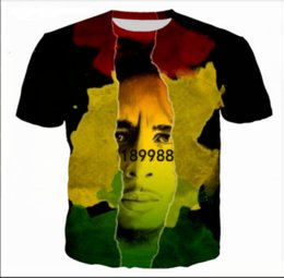 Wholesale Reggae Fashion - New Fashion Mens Womens Reggae Star Bob Marley Summer Style Funny 3D Print Casual T-Shirt TXA0185