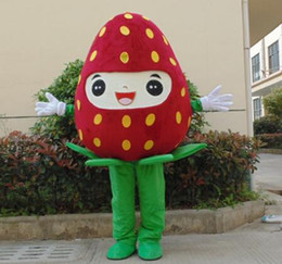 Wholesale Strawberry Fruit Costumes - 100% real photo of brand new giant happy face fruits red strawberry mascot costumes for adults for sale