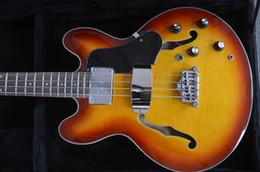 Wholesale Custom Shop Bass - wholesale custom guitar shop 4 string electric bass guitar Semi hollowbdy bass Doube F holes Chrome hardwares Sunburst color in stock