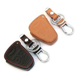 Wholesale Car Commander - Top Quality ! Leather Car Remote Key Cover For Jeep Wrangler Jeep Compass Liberty Patriot Commander Grand Cherokee Car styling