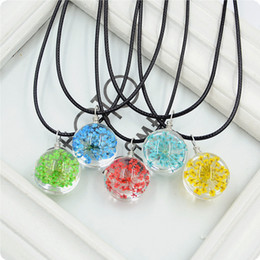 Wholesale Oil Painting Christmas Tree - 2017 NEW Dry Flower Tree of Life Necklace Pendant Jewelry oil painting Silver Family Christmas Style Leather Chain Charm Jewellery Gift