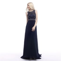 Wholesale Fitted One Shoulder Sexy Dress - Jewel Crystal Beaded Navy Blue prom dresses Sheer Back fitted prom dresses Chiffon dresses party evening 2017