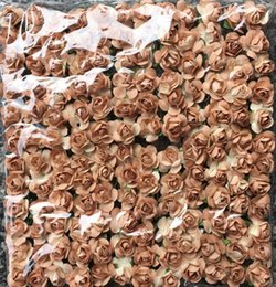 Wholesale 144 Hair - Wholesale-Good quality Coffee color mini paper flowers Real pic show mulberry paper flower for hair wreath scrapbooking decor 144 lot