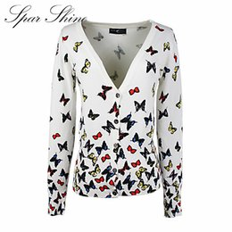 Wholesale Butterfly Sweater Pattern - Wholesale- Long Sweaters 2016 Women New Autumn Fashion printing color butterfly pattern V-neck cardigan women's sweater
