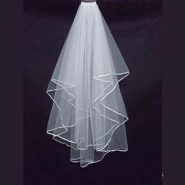 Wholesale Ribbon Supplies - 2017 New Cheap Bridal Veil Ribbon Edge Two Layer Short Wedding Veils Free Shipping Wedding Supplies