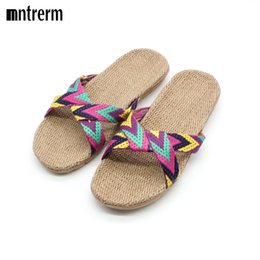 Wholesale Flax Medium - Wholesale-2016 New Candy color Flax Home Slippers For Women Striped Cut-outs Summer Indoor Slippers Flats Soft Cool Linen Slipper Hot Sale
