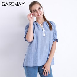 Wholesale Loose Off Shoulder Tops - Clothes For Women Off Shoulder Tops Striped Shirt Blusa Feminina Cotton Loose Sweet Ruffle White Blouses Summer Garemay 0015