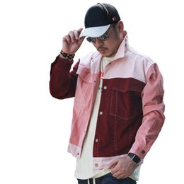 Wholesale korean trend coat - Men's Jackets 2018 New Street Trend Vintage Outwear Spell Color Red Jacket Korean Young Men Women Casual Stylish Loose Coat Outerwear