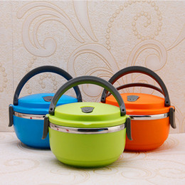 Wholesale Stainless Steel Thermal Lunch Box - Students Children's Lunch Box Kids Food-Grade Bowl ouble Locks Round Shape Stainless Steel Thermal Bento Lunch Box No-Leak With Handle