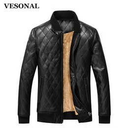Wholesale Classic Wool Coats Men - Wholesale- VESONAL Autumn Winter High Quality Soft PU Male Faux Leather Jacket Men Casual Thick Warm Velvet Classic Mens Jackets Coat J009
