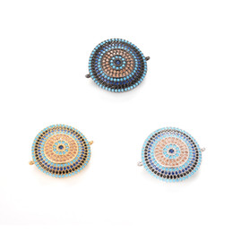 Wholesale Round Disc Charm - 3 Colors Wholesale New Design ECO-Friendly Round Disc Shape Micro Pave Charm, Connector, ICSP038, Size 26.3*22.8mm