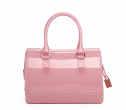 Wholesale Jelly Clutch Bags - Women Fashion Handbag Silicone Jelly Bag Boutique Tote Candy Transparent Noble Feminina bag Casual Clutch