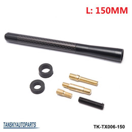 "Wholesale Universal Car Radio Antenna - TANSKY -Radio Aluminum Carbon 6""  15cm Universal Black Fiber Screw Car FM ANT Aerial Antenna TK-TX006-150"