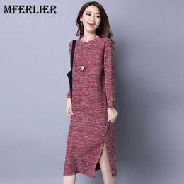Wholesale Knee Length Sweaters Women - Autumn Winter Pullover Women Dress Brief O Neck Long Sleeve Split Hem Knitted Dress Thicken Casual Sweater Dresses