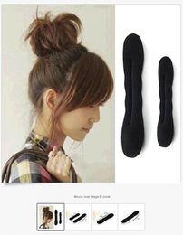 Wholesale Hair Rollers Sizes - Wholesale- Sponge Hair Curler Bun Updo Styler Roller Foam Tool Accessories Black 2 Size