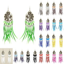 Wholesale White Peacock Feathers Wedding - Slim Feather Earrings 12 Colors wholesale lots Sheer Tear Bead Peacock Chandelier Eardrop (White Black Red Teal Gray Brown Sky Blue) (JF207)