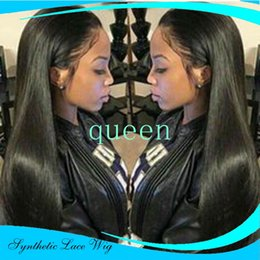 Wholesale short dark green wig - long Lace Front Wigs Black Heat Resistant Fiber Synthetic Lace Front Wigs Straight Glueless Short Wigs for Black Women
