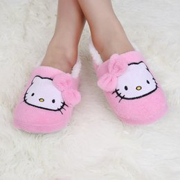 Wholesale Leather Soft Sole Slippers - Wholesale-2016 Winter Bowtie Hello Kitty Slippers Women Bedroom Soft Sole Shoes Warm Soft House Shoes Plush Home Slippers Pantufas Pantufa
