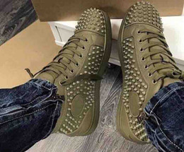 Wholesale Suede Loafer Shoes - Super Quality Loubs Designers Shoes Olive Green Leather Suede Spikes Red Bottom Shoes Casual Loafers Sneakers Flat Rivets Red Sole