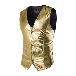 Wholesale Sexy Host - Wholesale- Fashion Nightclub Stage Costumes Men Gold Silver Vest Men Slim Fit Sleeveless Waistcoat Vest Wedding Host Clothing For Men