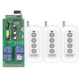 Wholesale Rf Ac - 0-500m AC 85V-265V 110V 220V 230V 4 Channel 4CH RF Wireless Remote Control Switch System Receiver 3X Transmitter, 315 433.92 MHZ