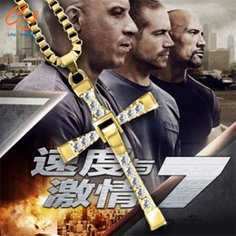 Wholesale Dominic Toretto Pendant - Freeshipping Fast and Furious Seven gold color Dominic Hot Selling Dominic Toretto Cross Men's Necklace Pendant wholesale 2016