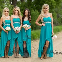Wholesale Empire Lace Strapless Wedding - Country Bridesmaid Dresses 2017 Cheap Teal Turquoise Chiffon Sweetheart High Low Beaded With Belt Party Wedding Guest Dress Maid Honor Gowns