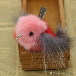 Wholesale Mink Car - Genuine Royal Mink Fur Fashion Animal Keyring Pendant Bird Shape Handbag Interior Car Upholstery Hanging Keychain Spongy