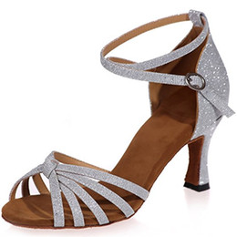 Wholesale Salsa Dance High Heels Shoes - Clearbridal Women's Leather Latin Dance Shoes Buckle Ankle Strap Salsa Ballroom Sandals High Heel ZXF8349-08