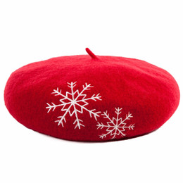 Wholesale Womens Red Wool Beret - Wholesale- Siggi Womens Wool Snow Embroidery French Basque Beret Painter Hats Autumn And Winter Casual Sweet Vintage Berets Crushable Cap